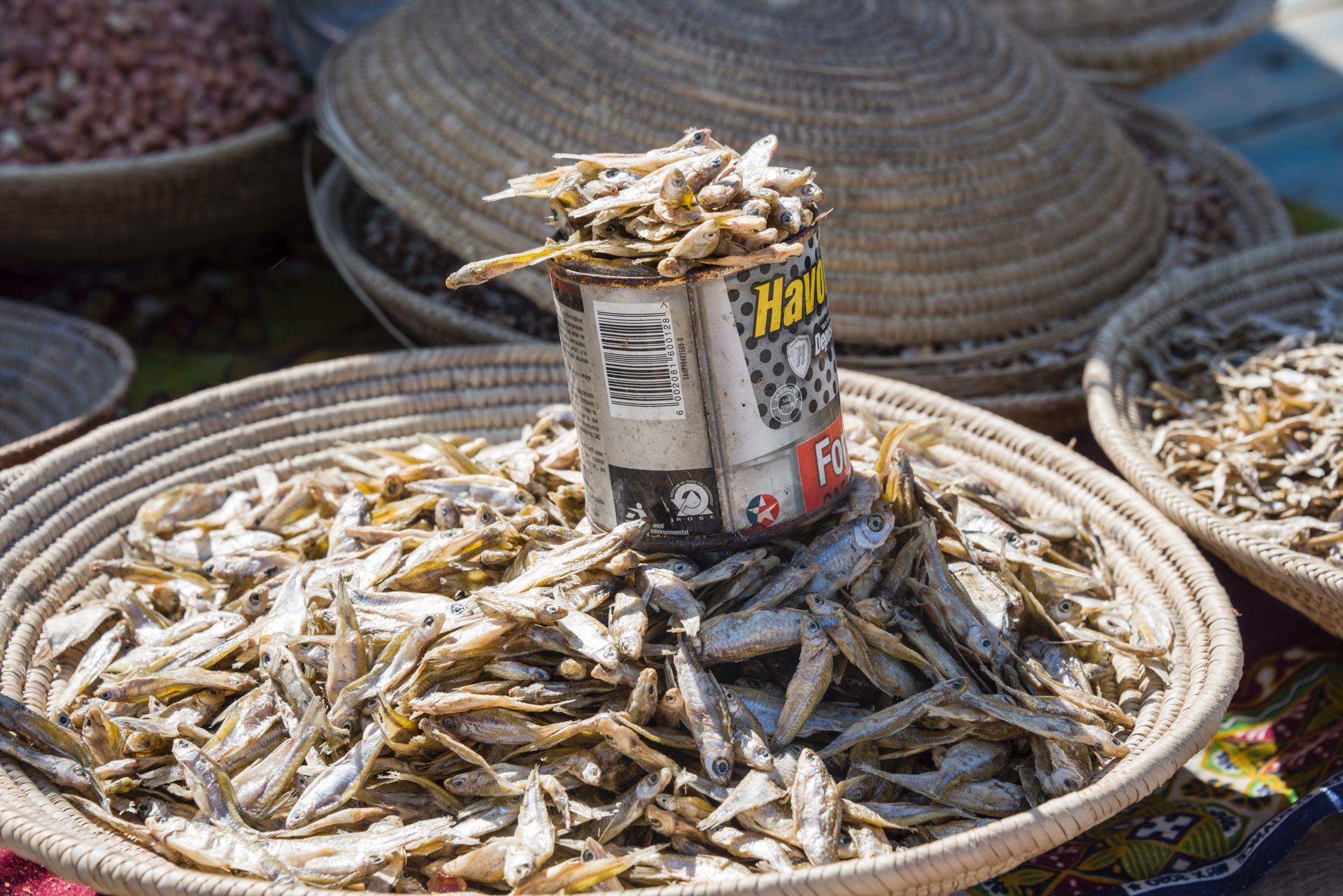 Petits poissons séchés (étal à Windhoek, Namibie)
