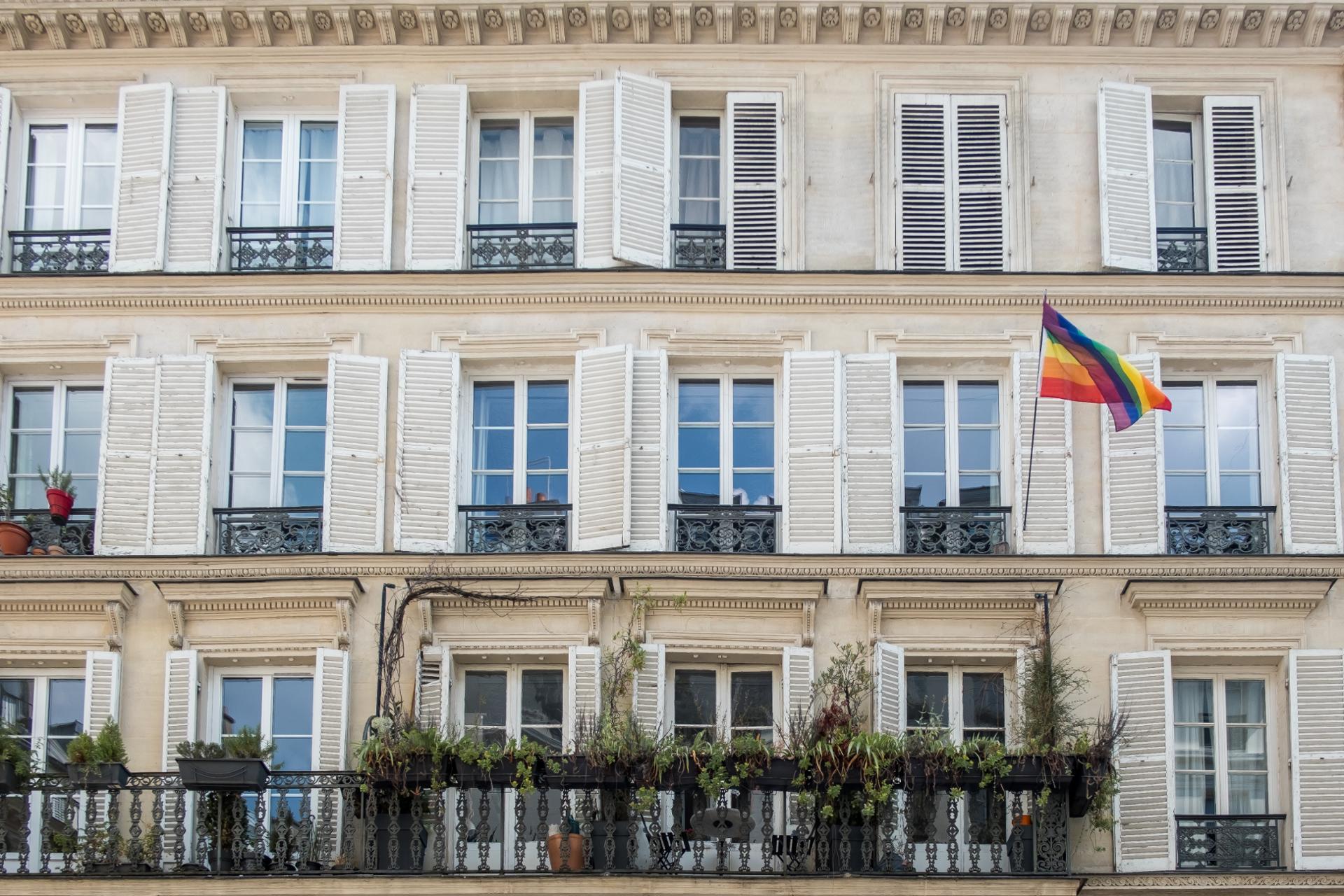 Rainbow flag in Paris