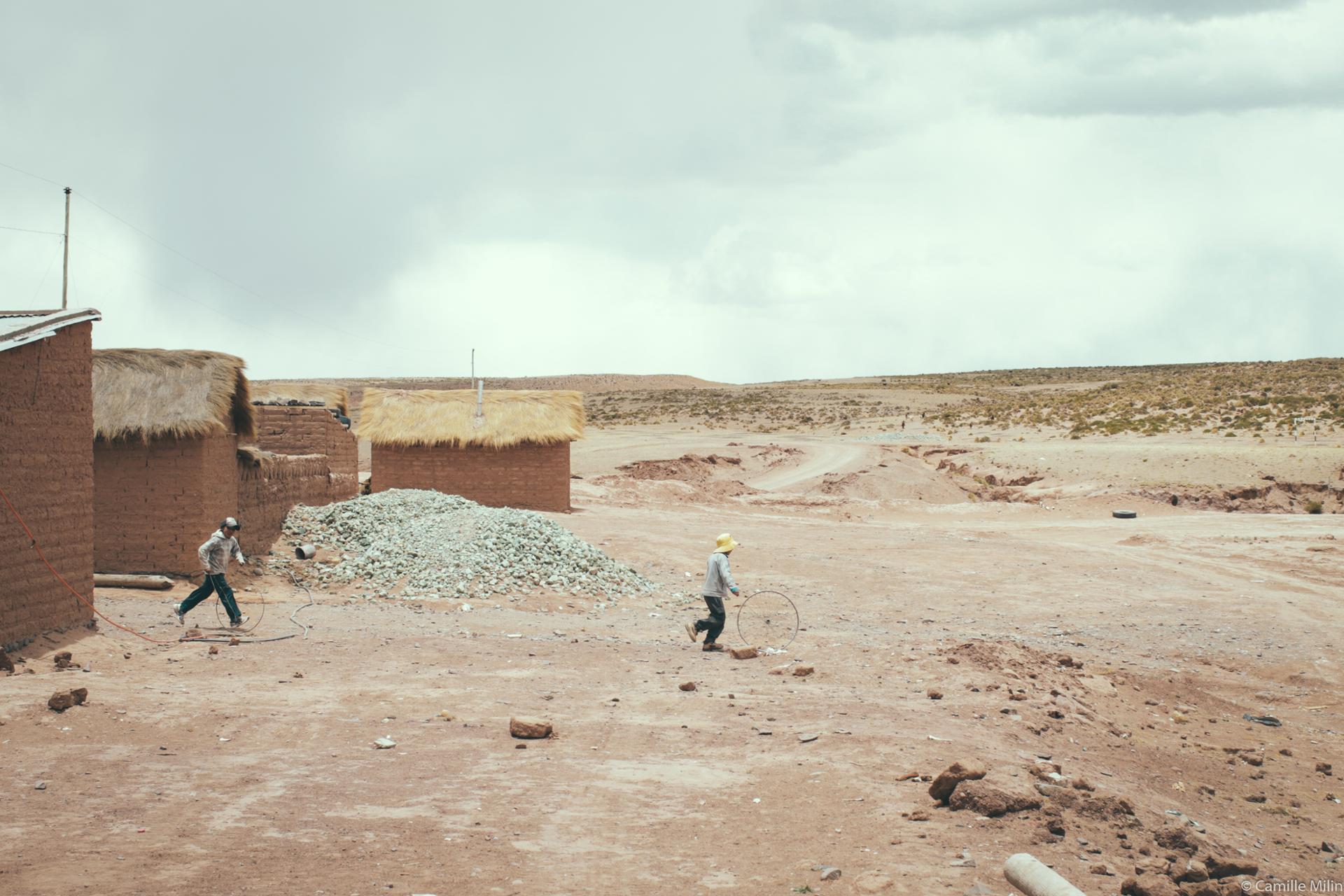 Children playing in the Desert