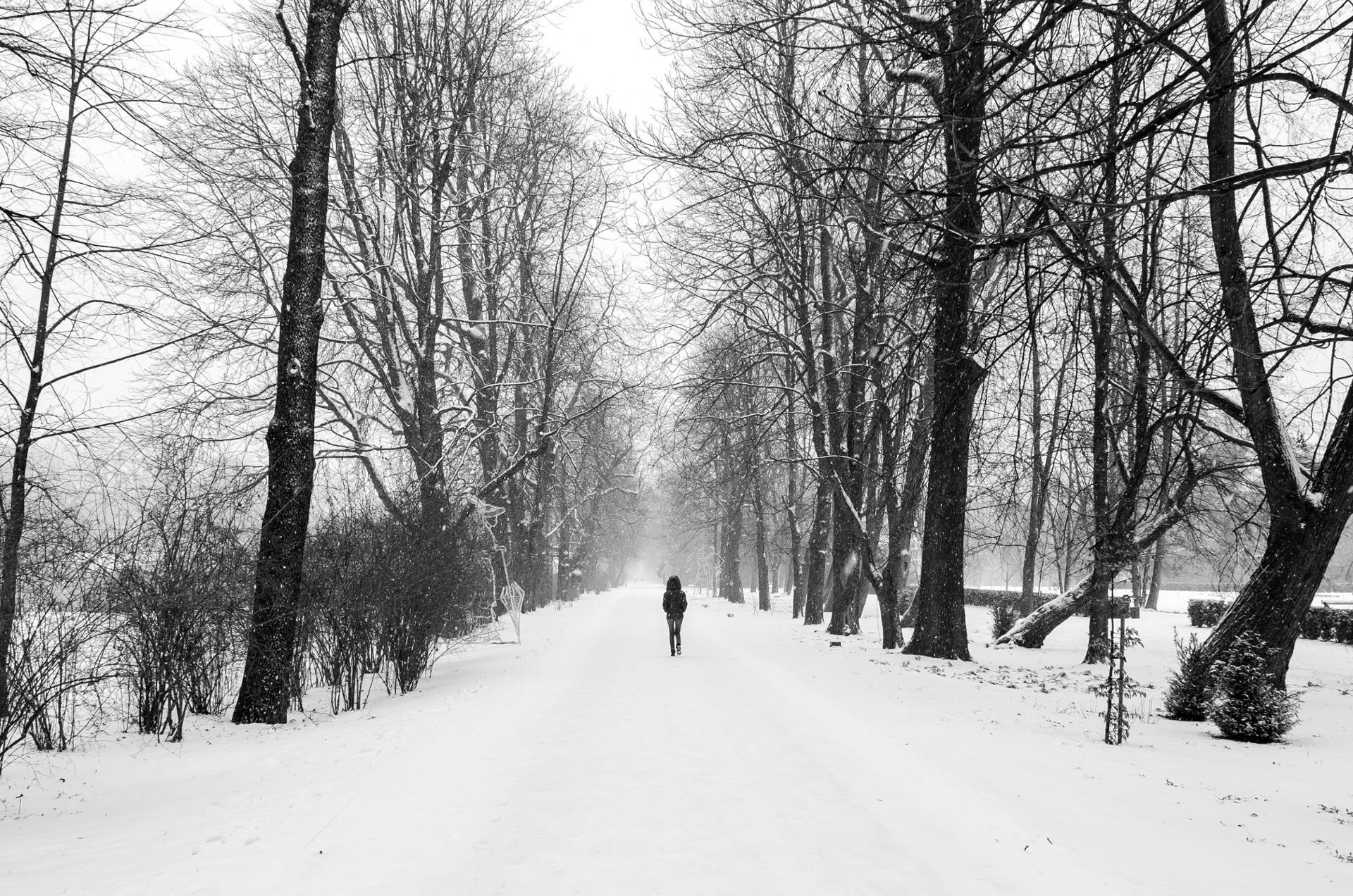 Marche dans le froid hivernal