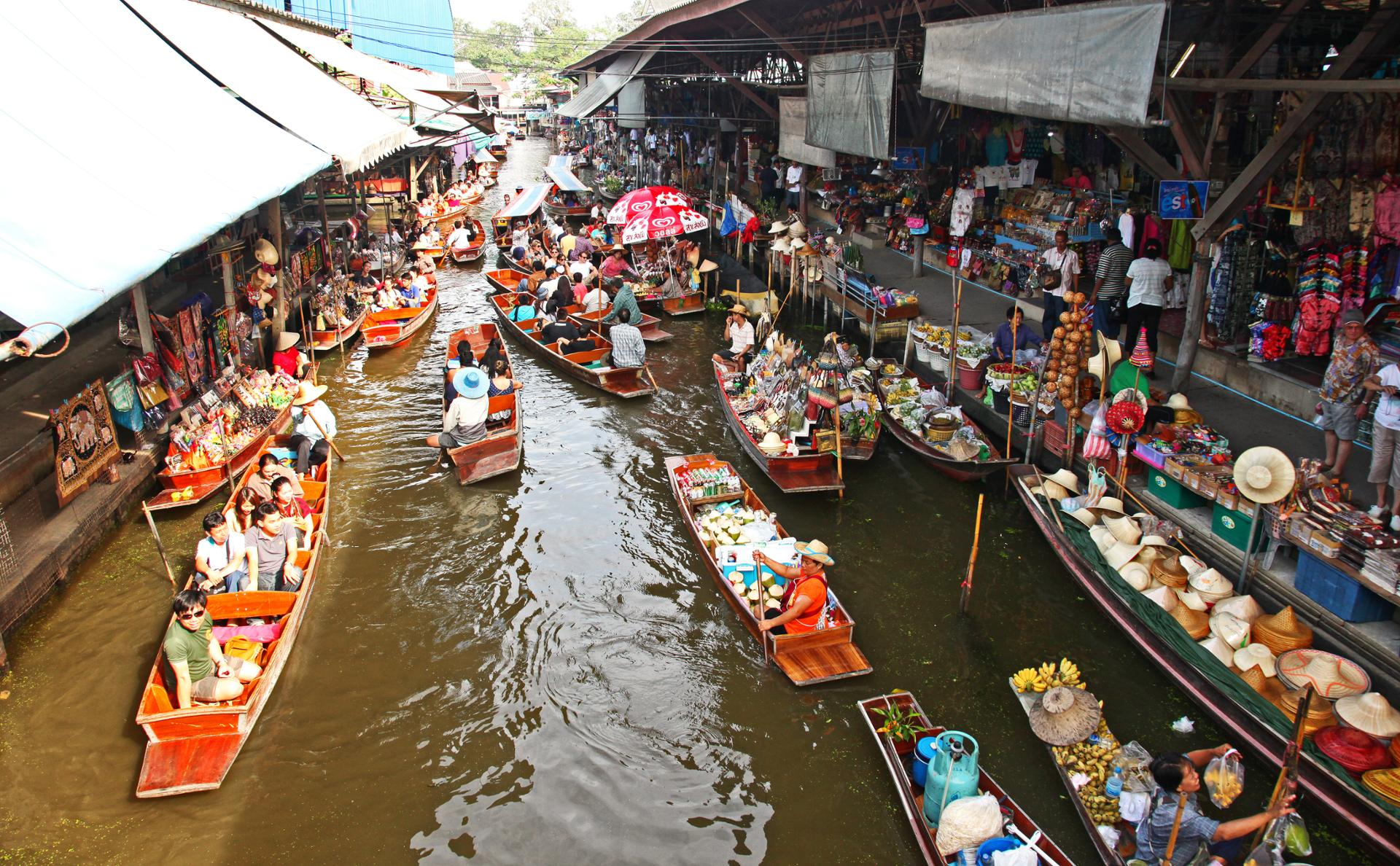 Marché flottant.Thailande