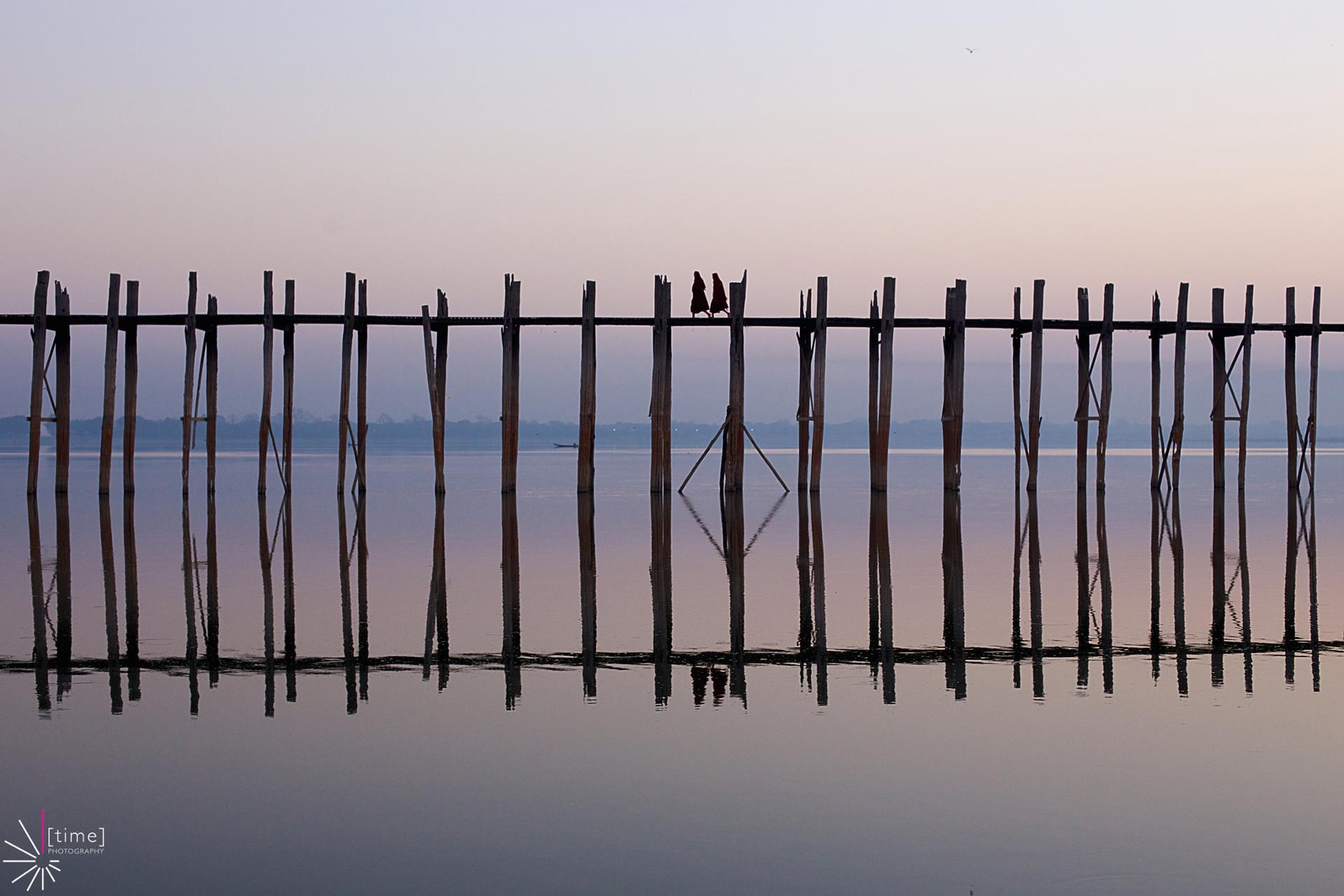 Le Pont U Bien au crépuscule en Birmanie