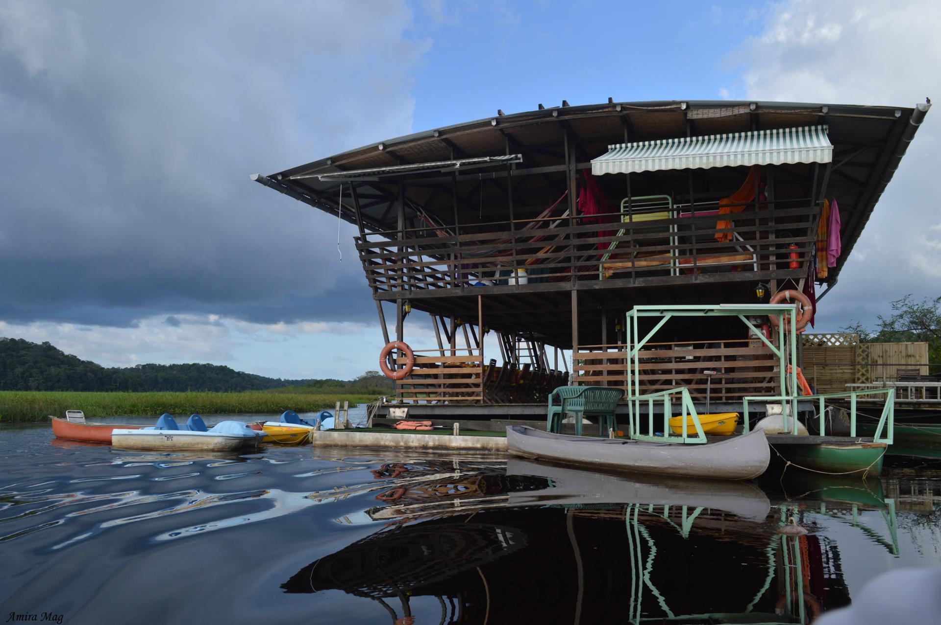 Carbet flottant aux marais de Kaw de Guyane
