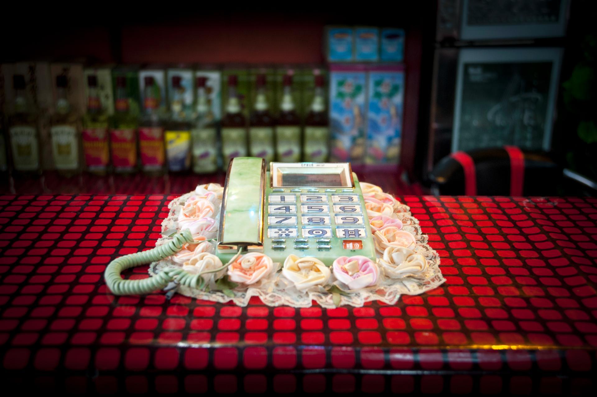 telephone à la réception dans un restaurant dans la vieille ville de Kaesong, Corée du nord.