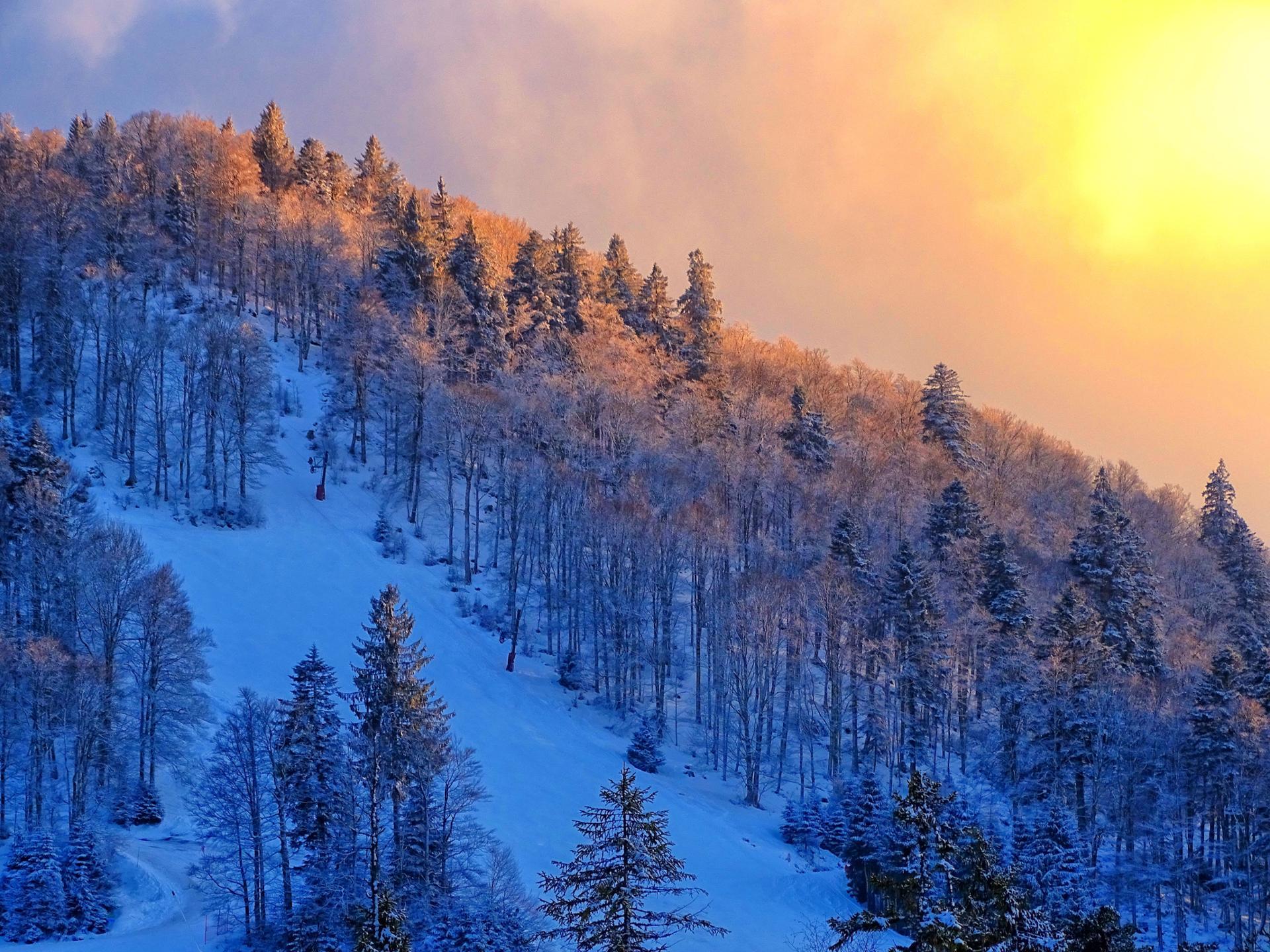 le soleil se couche dans les Vosges ...