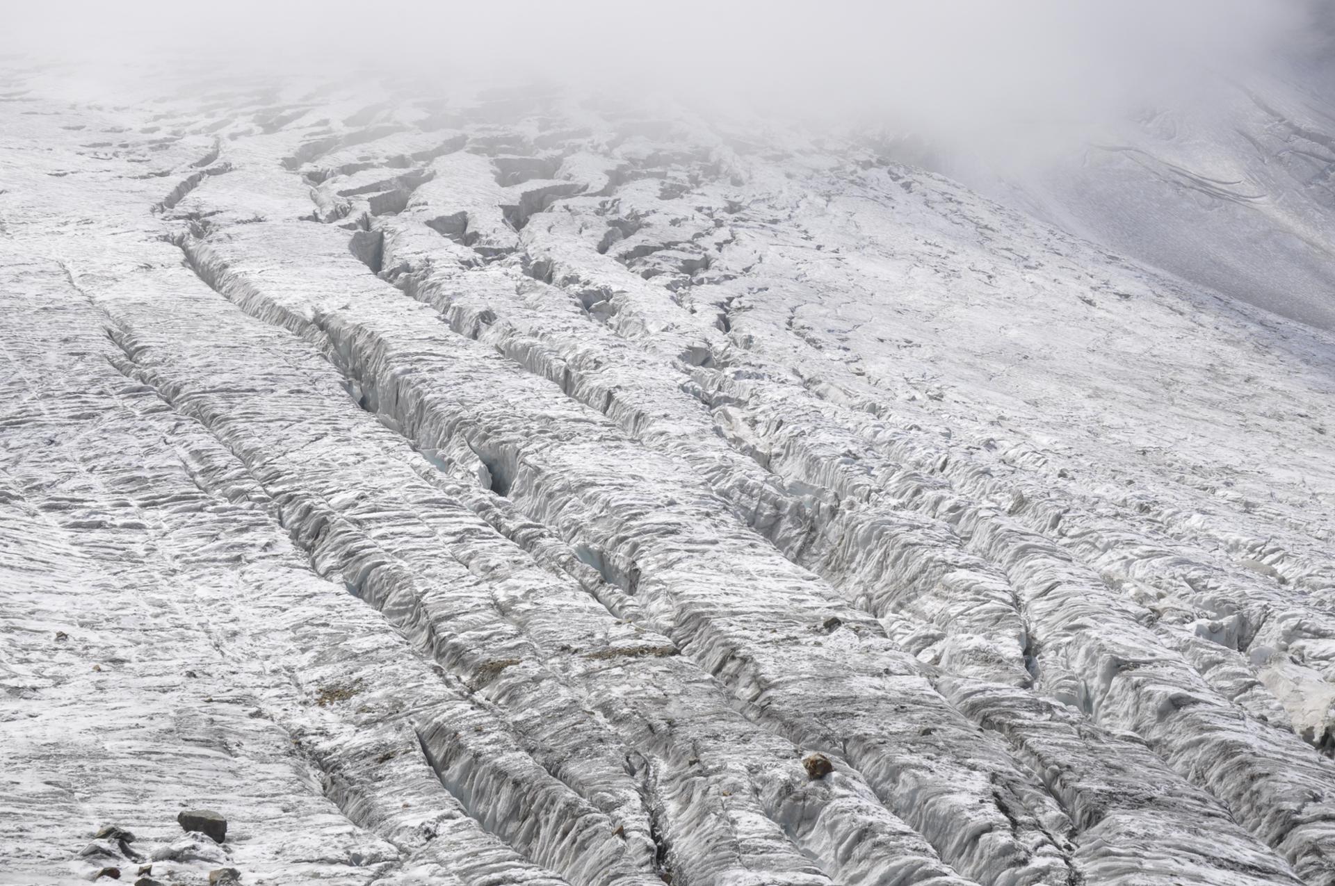 Crevasses sur le glacier