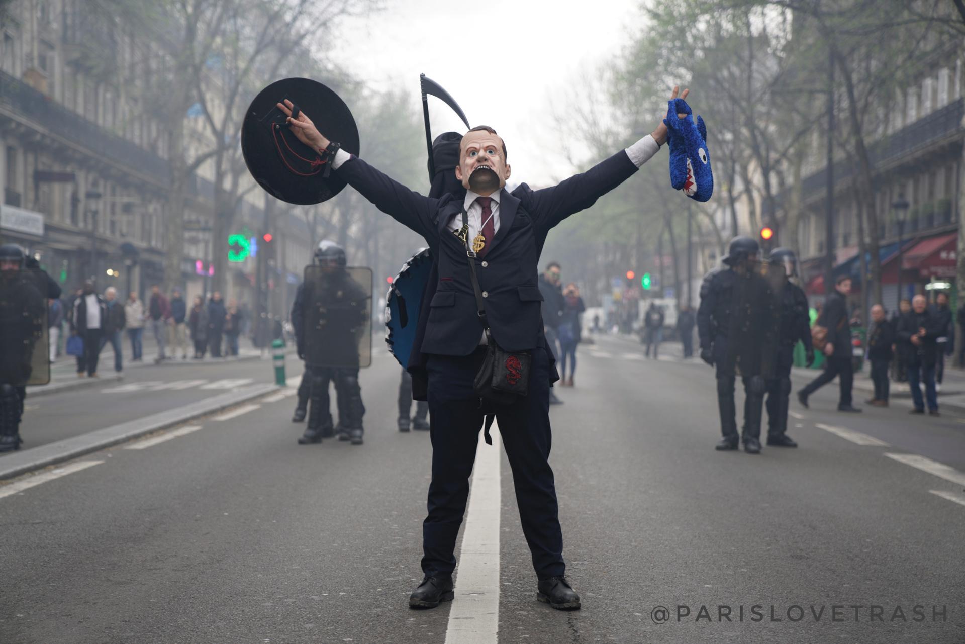 Paris Avril 2018 Durant la Manifestation des Cheminots