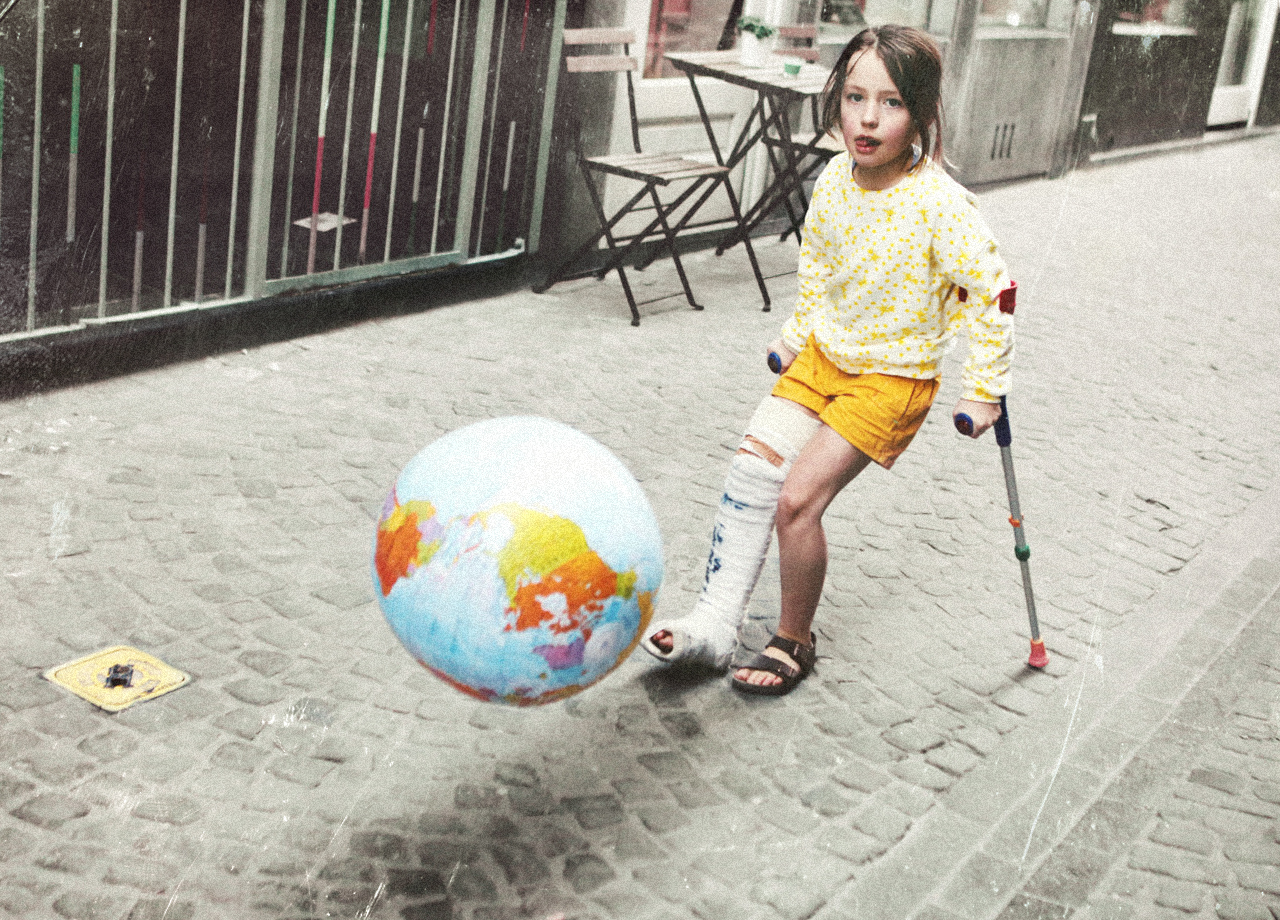 Little girl shoot the world.