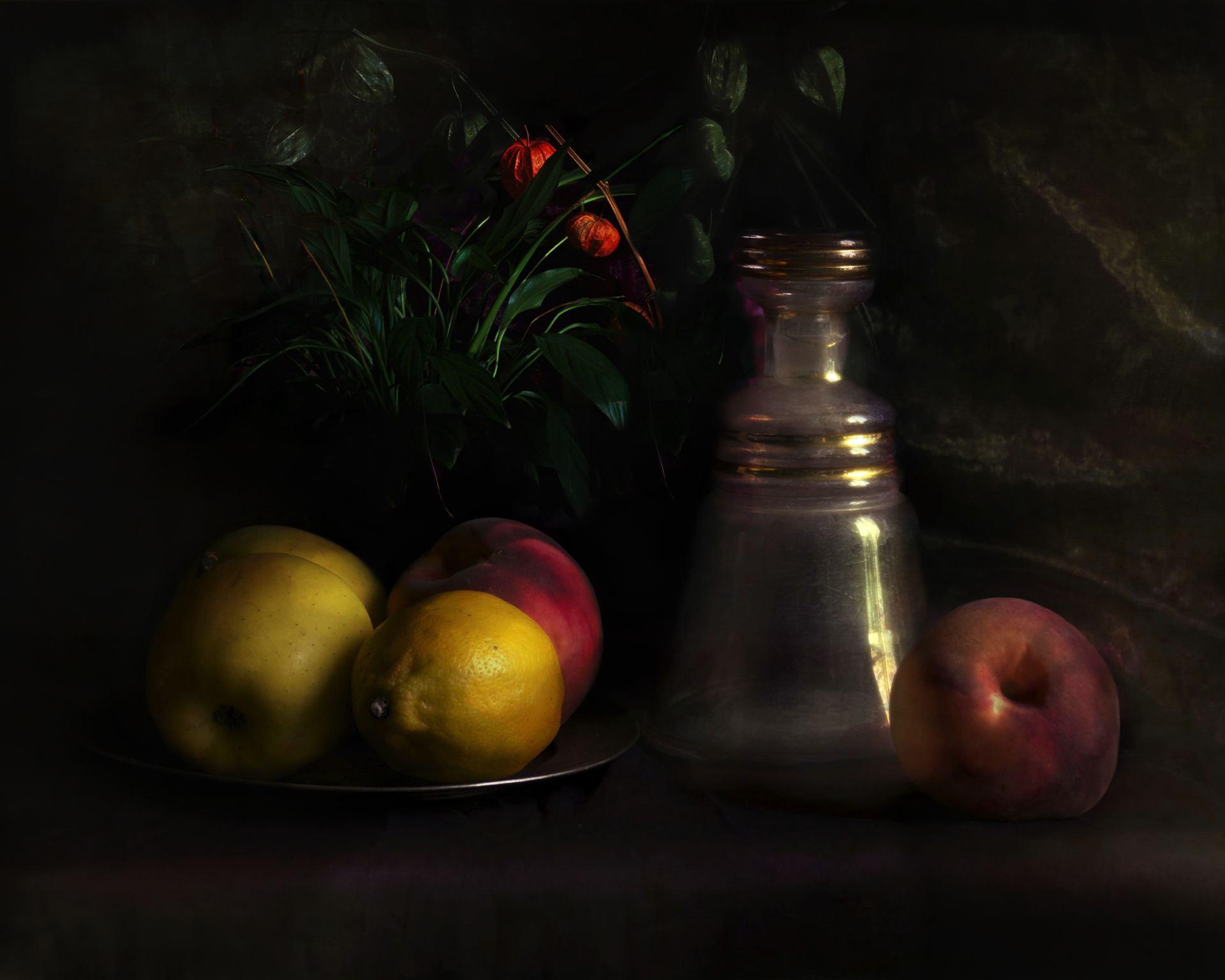Nature morte avec carafe et fruits