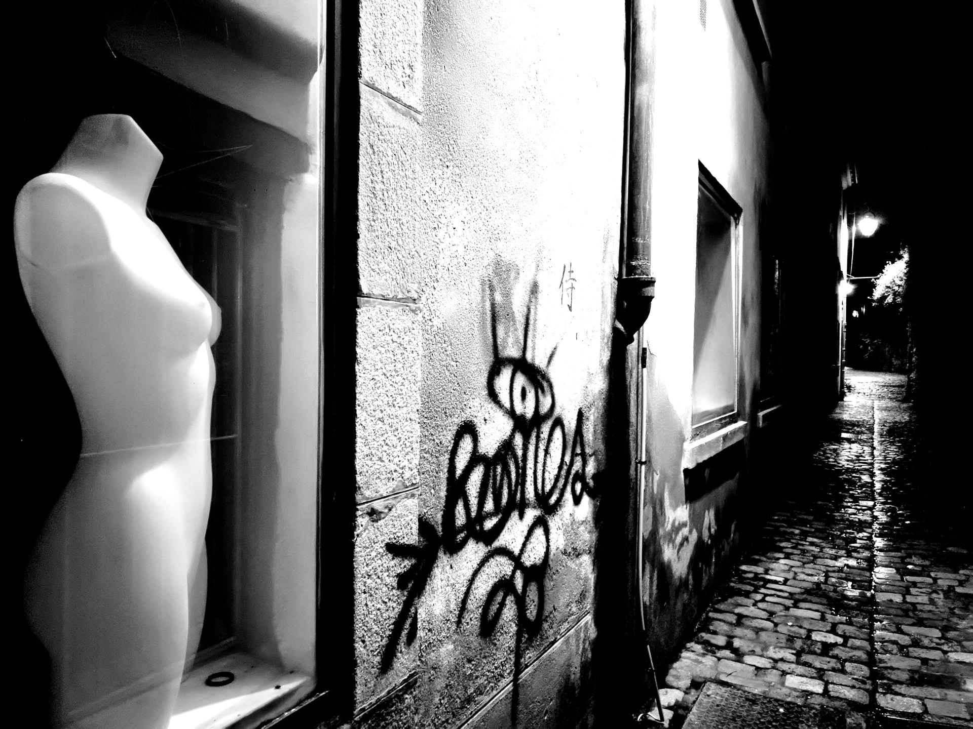 Dans la ruelle obscure