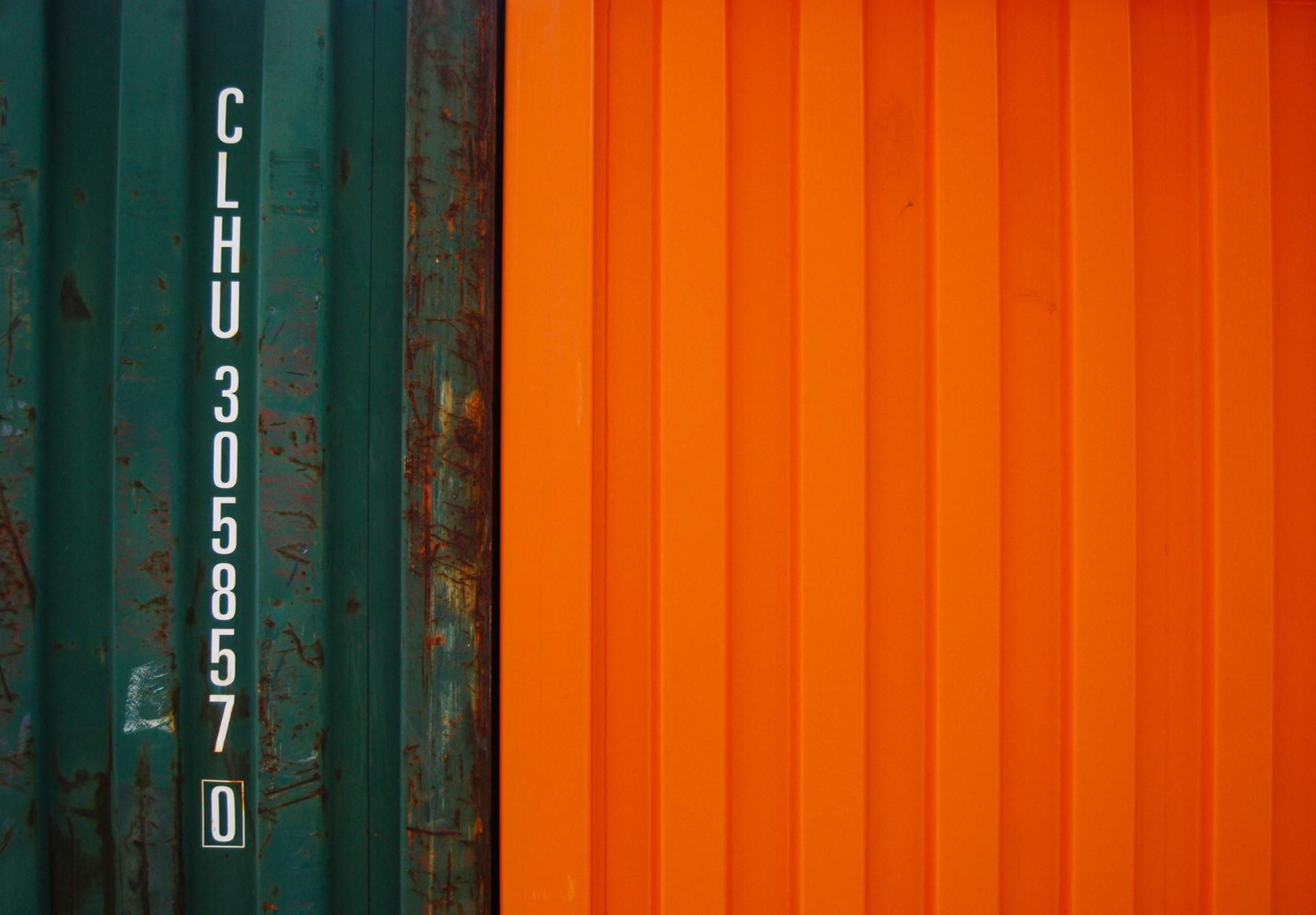 Container vert et orange
