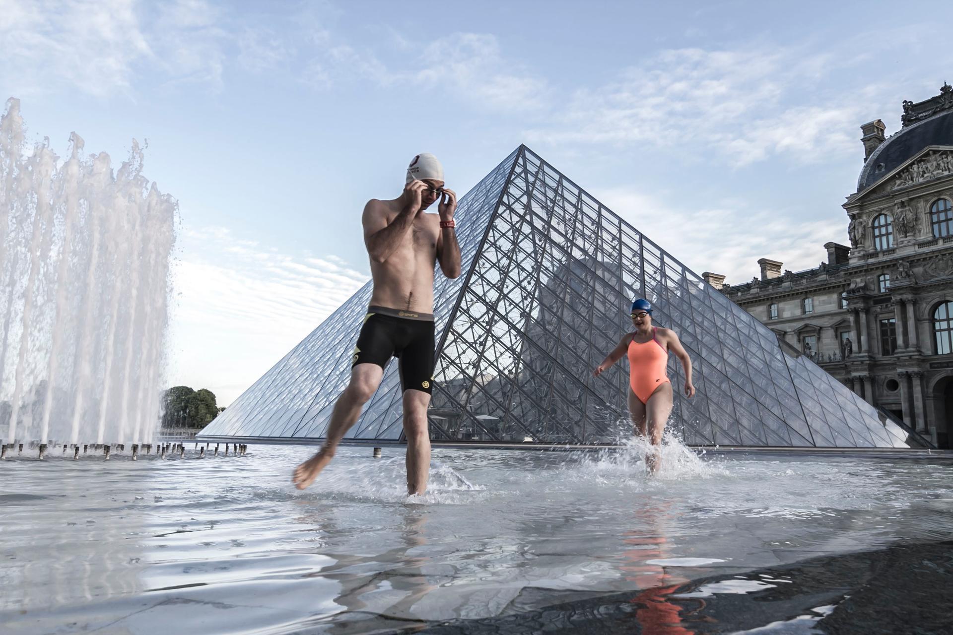 100m crawl au Louvre