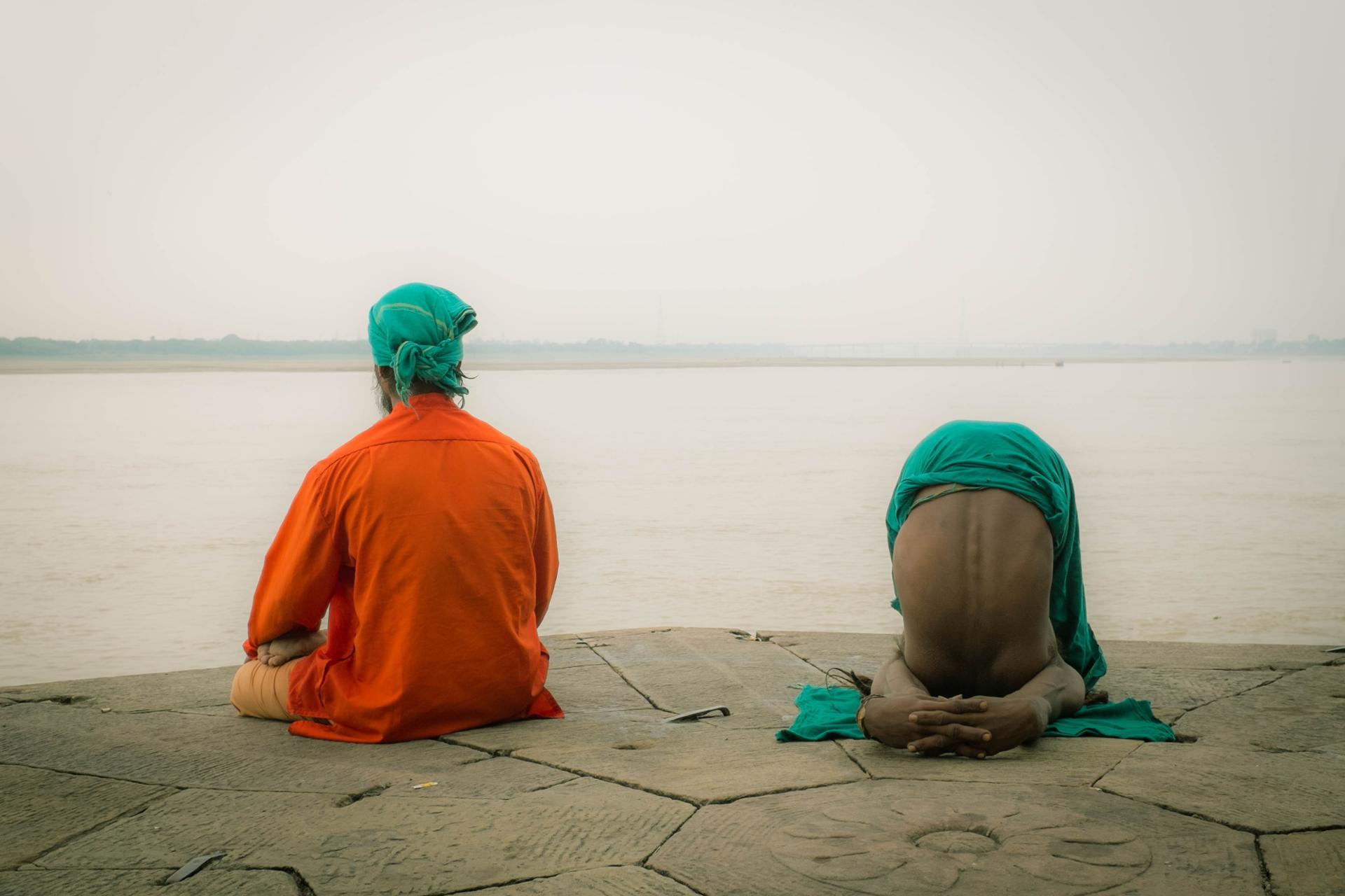 Yoga at the edge of Ganga