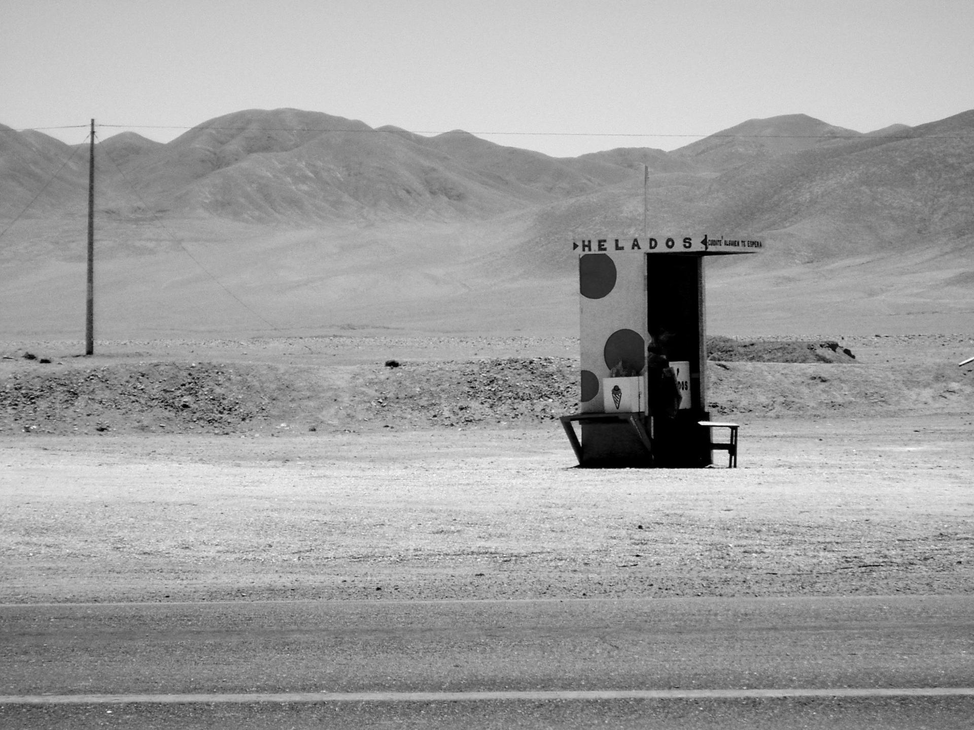 vendeur de glace dans le désert