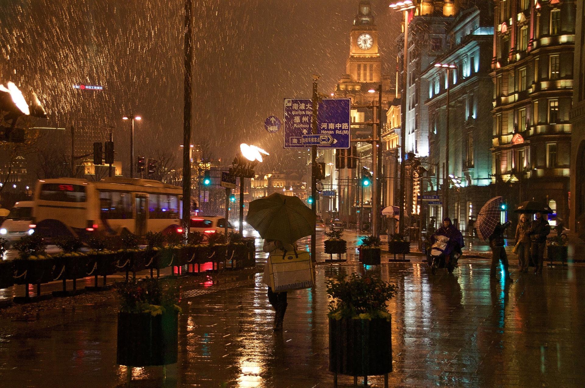 Le Bund sous la pluie