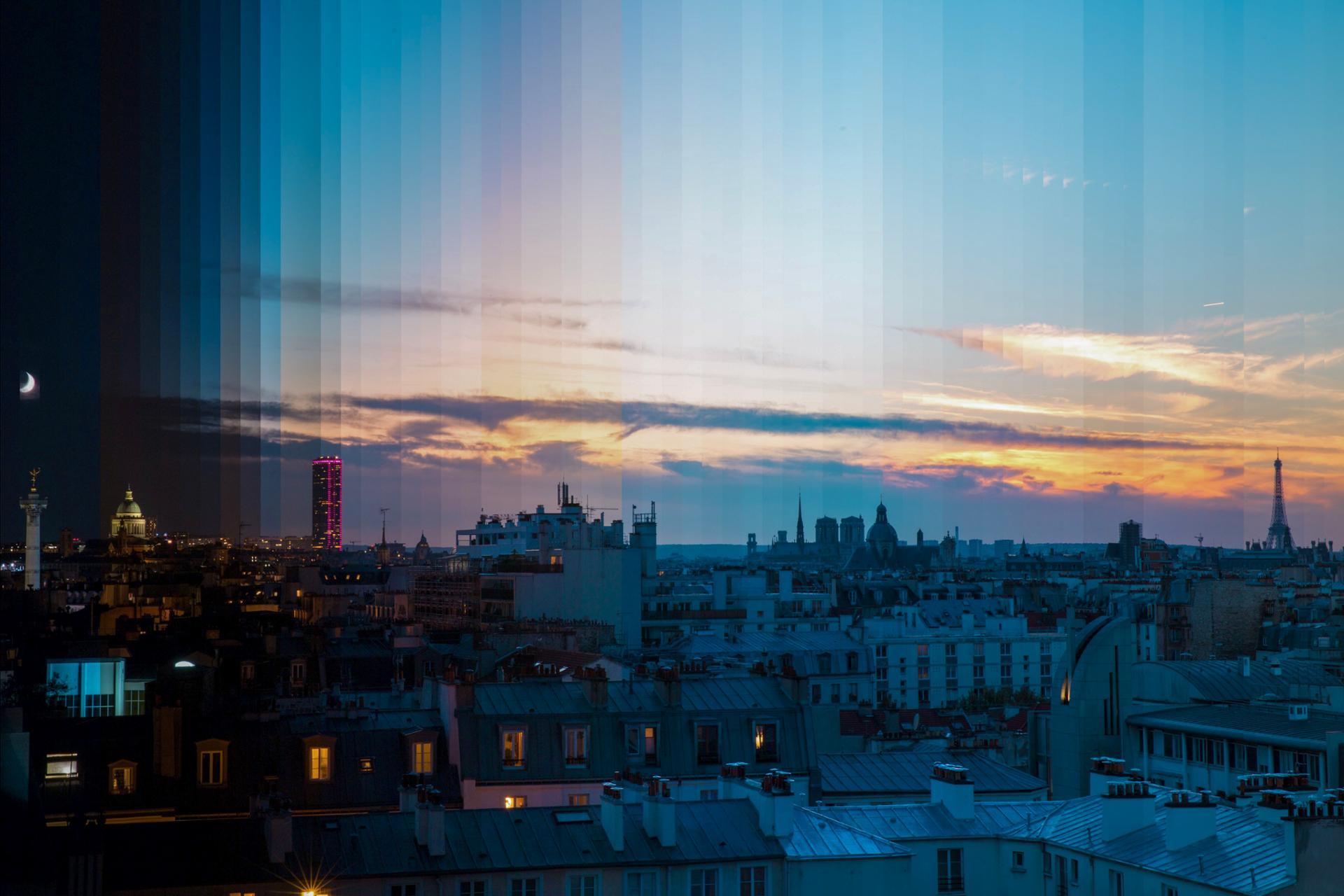 Timeslice vue de Paris de la nuit au levé du soleil