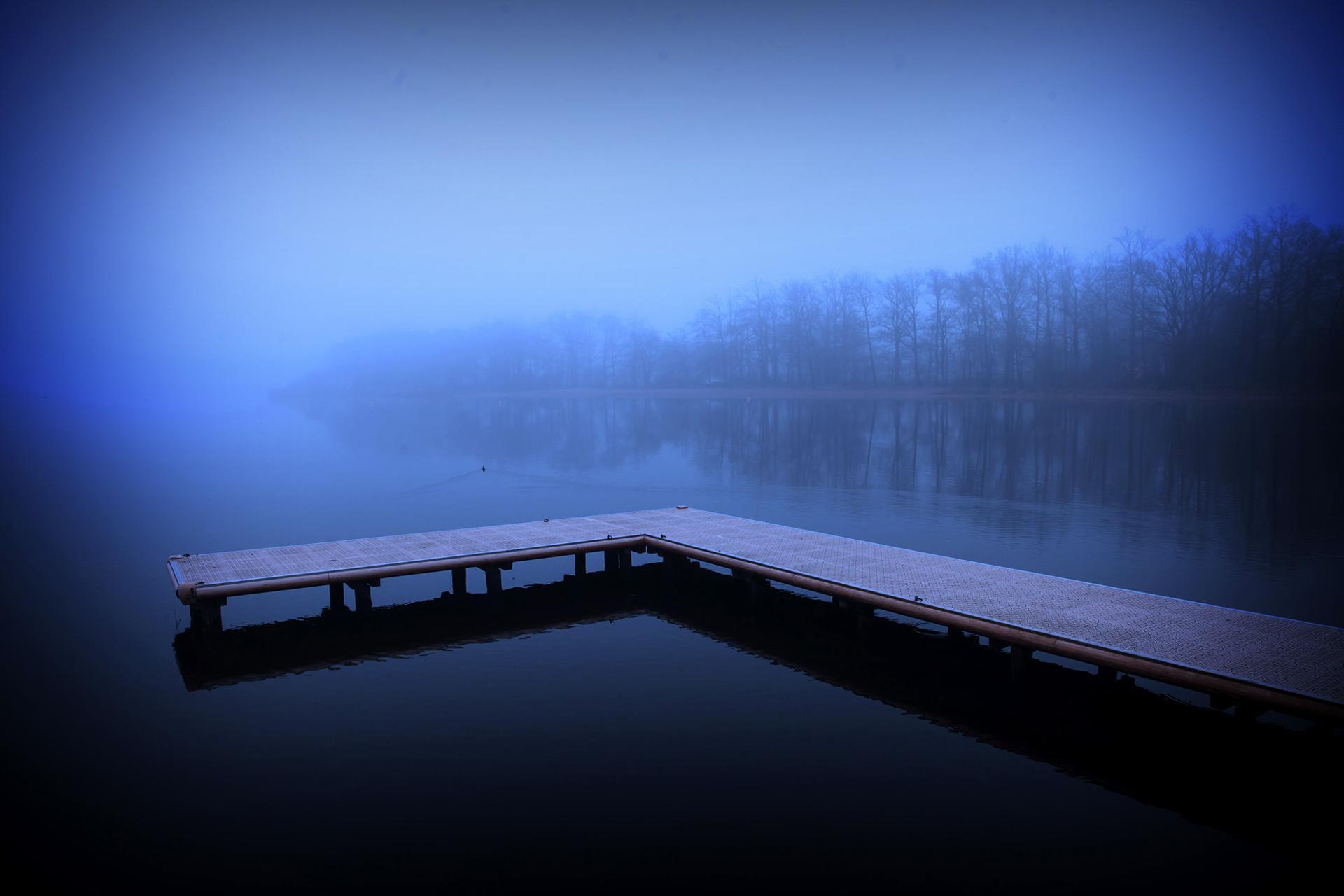 Brume matinale sur l'étang bleu