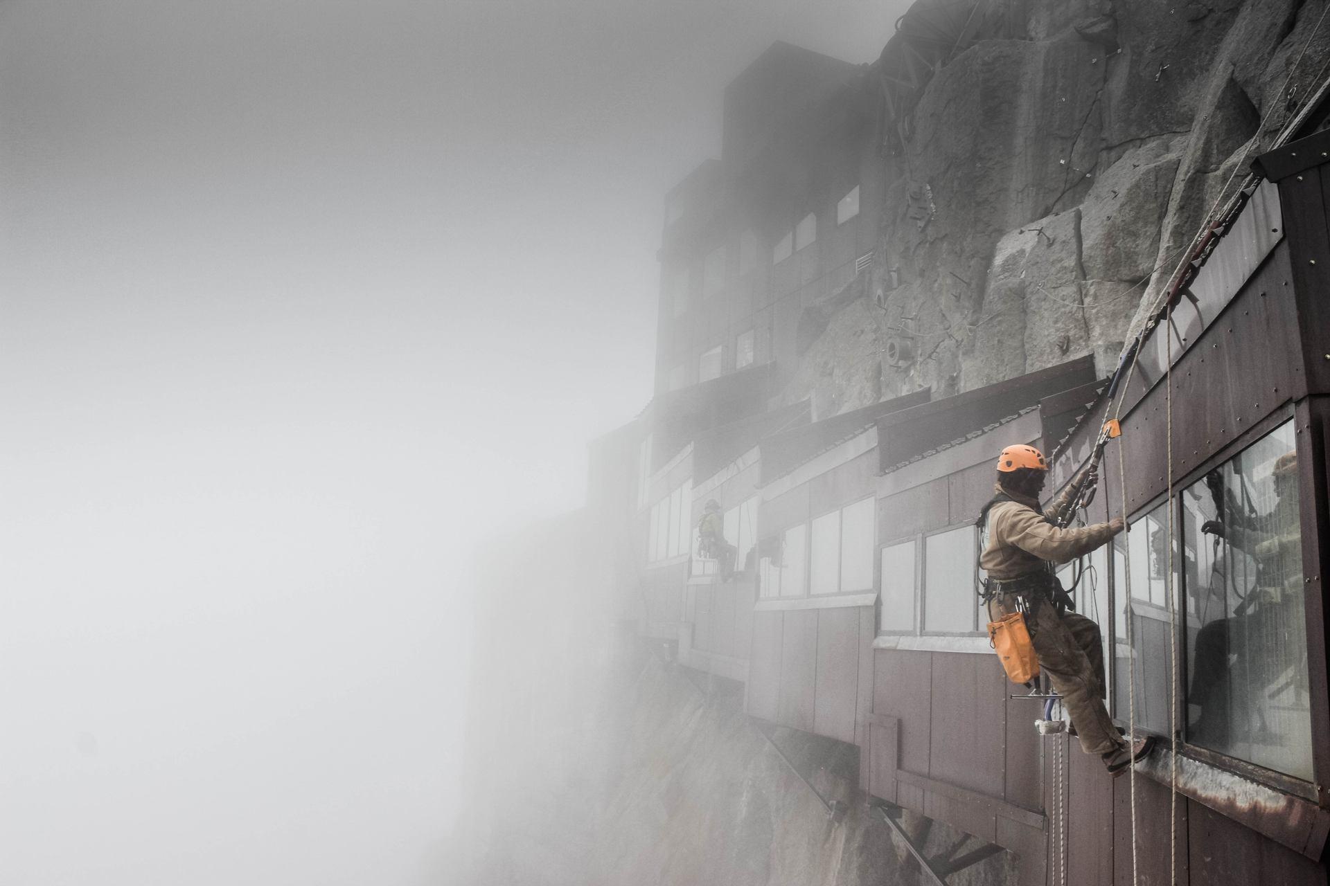 Lavage de vitres à 3800m d'altitude