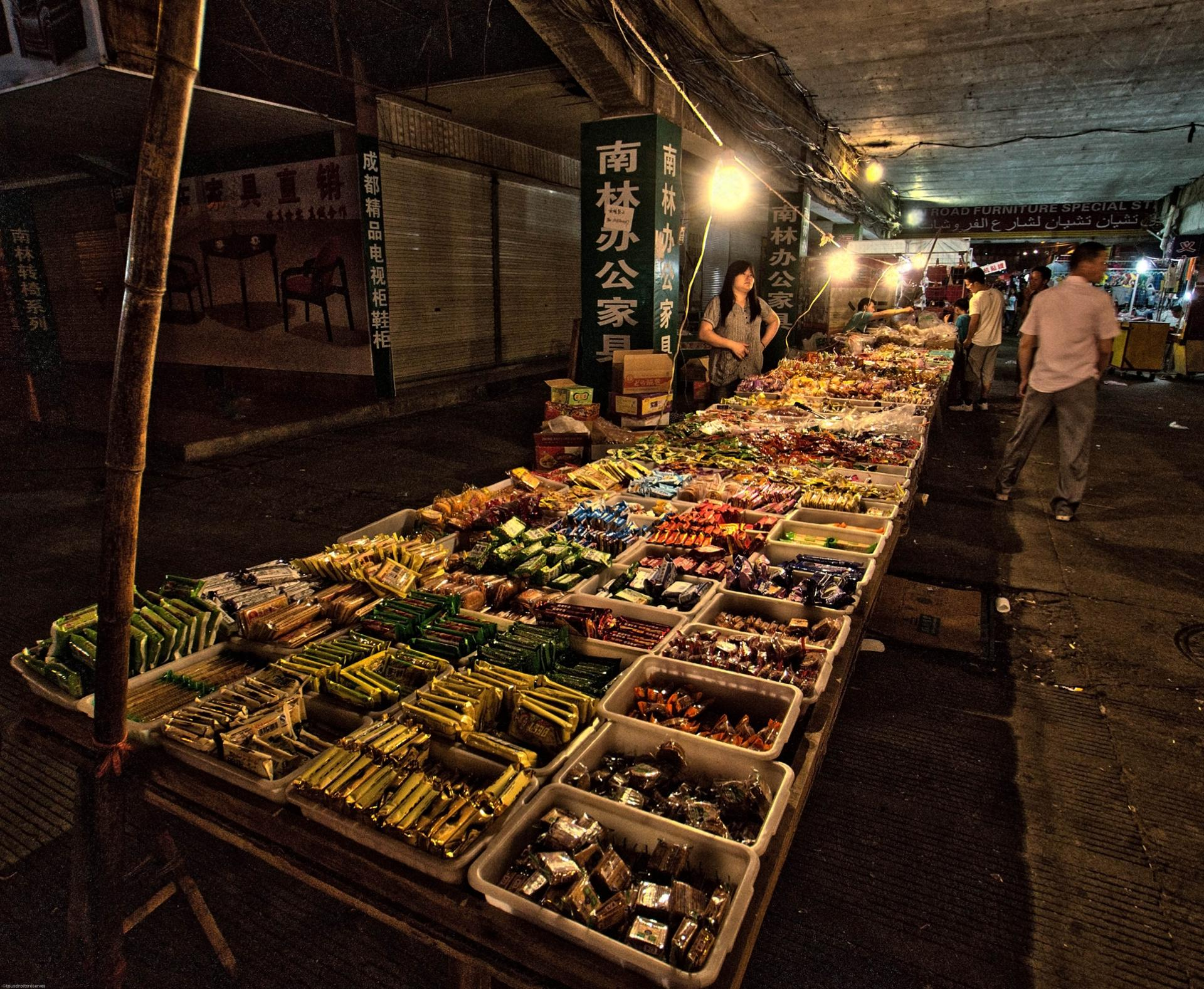 Marche de nuit,Yiwu,Chine